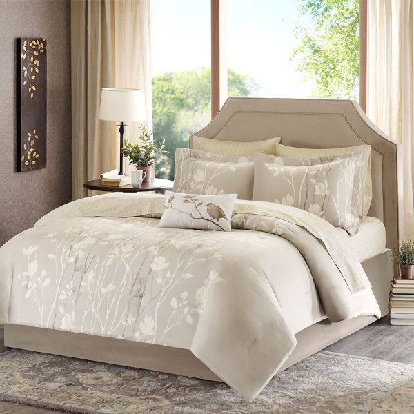 ivory and beige bedroom BEAUTIFUL ELEGANT IVORY WHITE TAUPE GOLD BEIGE BED IN BAG COMFORTER SET w SHEETS | eBay