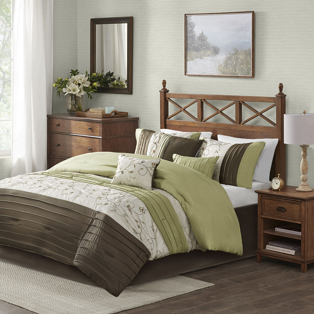 BEAUTIFUL 7PC MODERN ELEGANT LUXURIOUS GREEN BROWN TEXTURE RUFFLED COMFORTER SET  eBay