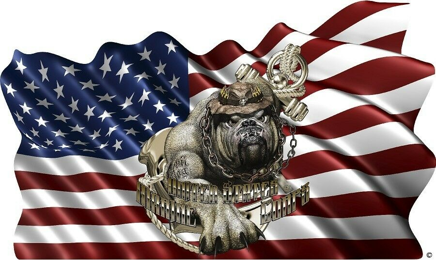 USMC Marines Devil Dog American Flag Cornhole Board Game