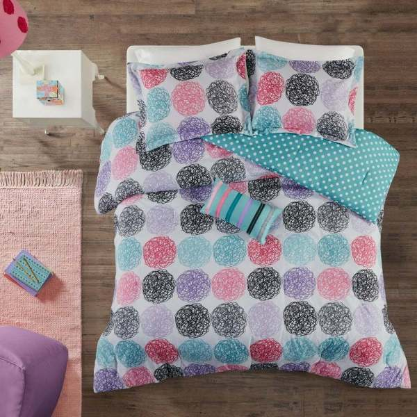 Reversible Pink Blue Teal Purple Grey Black Stripe Polka