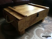 Rustic 3ft Storage Chest Coffee Table. Rough Sawn Plank ...