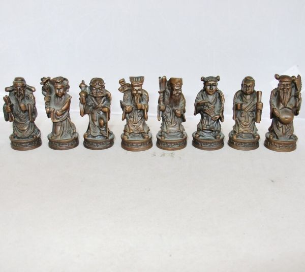 Antique Chinese Bronze Statue Set Of 8 Immortals 2
