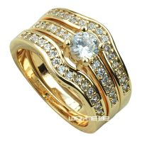 18k yellow Gold Fille engagement wedding ring set w ...