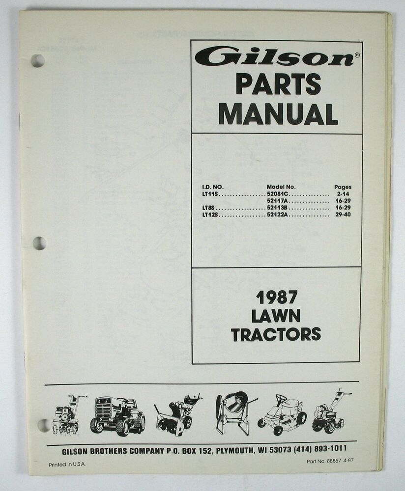hight resolution of details about gilson parts manual 1987 lawn tractors catalog