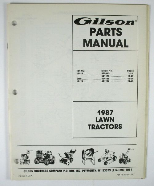 small resolution of details about gilson parts manual 1987 lawn tractors catalog