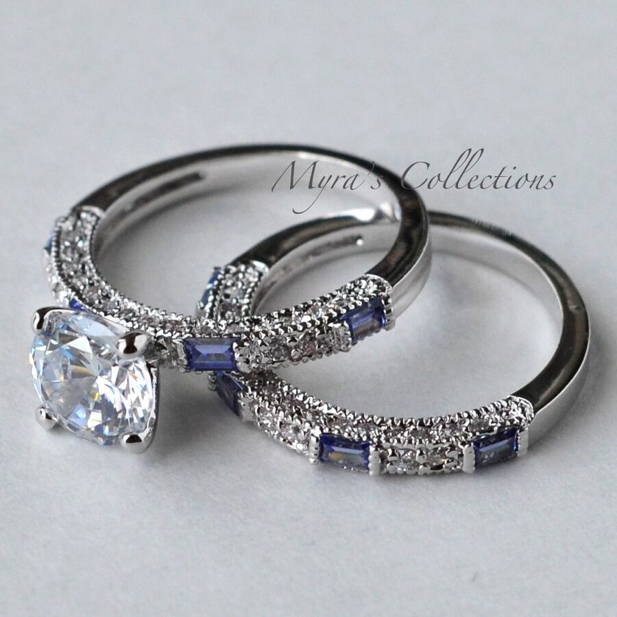 2.7CT TANZANITE CZ PURPLE BRIDAL WEDDING ENGAGEMENT RING