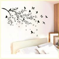 Black Butterfly Tree Flower Removable Wall Decals Sticker ...
