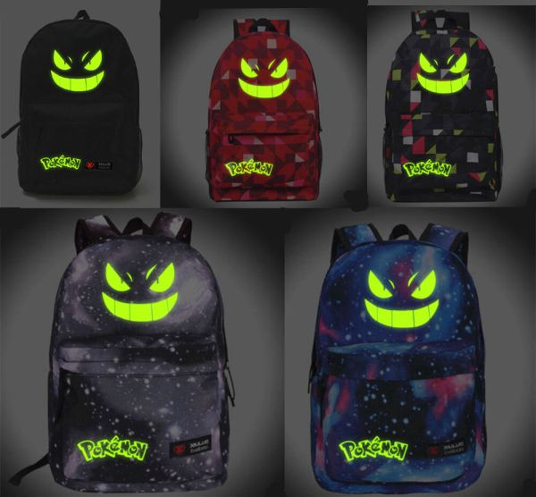 Pokemon Backpack Noctilucence Gengar Face School Bag
