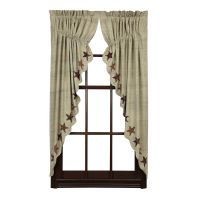 ABILENE STAR Prairie Curtain Set Applique Dark Cream ...
