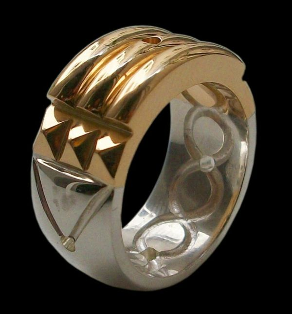 Sterling Silver Atlantis Ring 24k Gold Plated Bright