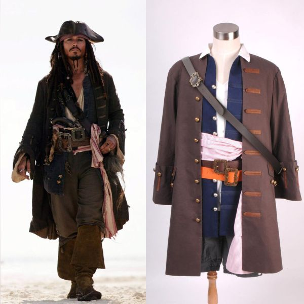 Pirates Of Caribbean Captain Jack Sparrow Costume Cosplay Set Tailored