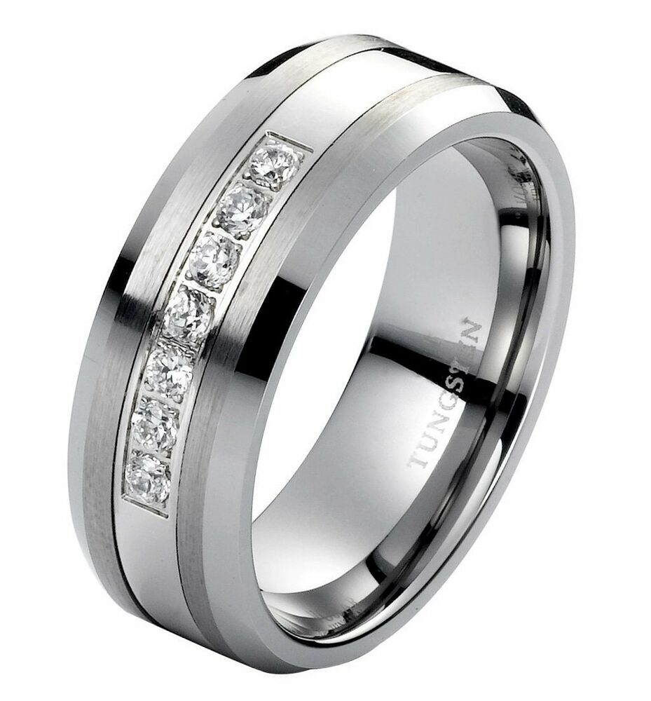 Diamond Wedding Band Ring mens tungsten band 8mm Modern Anniversary Band 025CT  eBay
