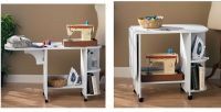 NEW White Rolling Sewing Machine Craft Table Folding Desk ...