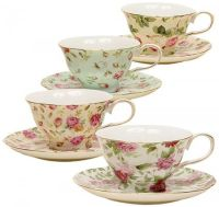 Gracie China Rose Chintz 8-Ounce Porcelain Tea Cup and ...