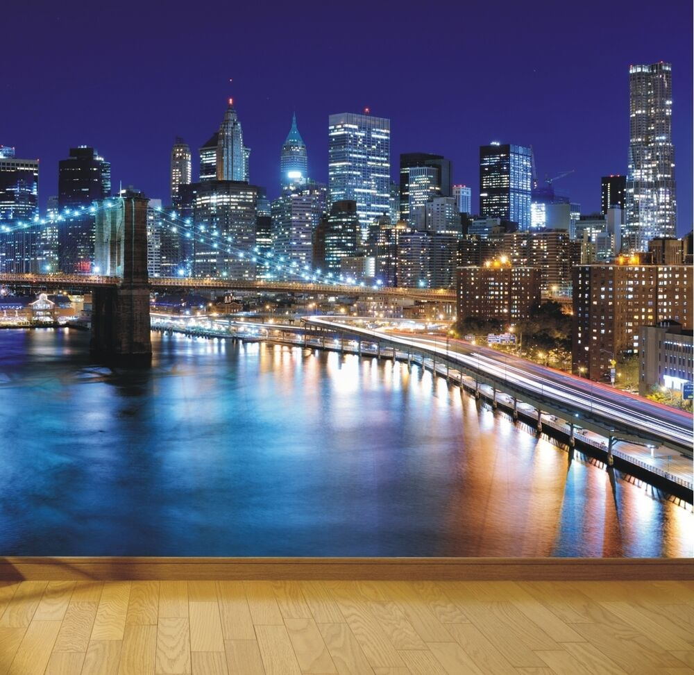 Ebay 3d Wallpaper Photo New York Brooklyn Bridge At Night Photo Wallpaper Mural
