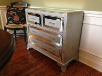 Hollywood Regency Mirrored Console Cabinet Chest SILVER ...