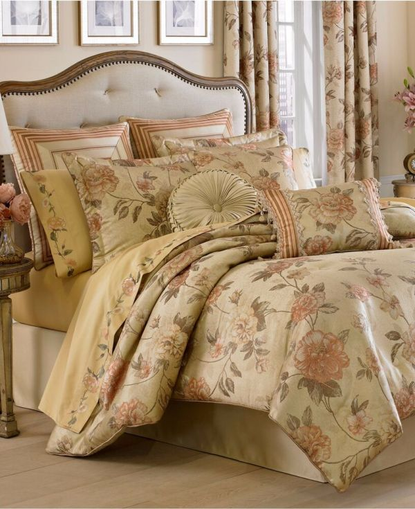 6-pc Queen King Comforter Set Euro Shams French Floral