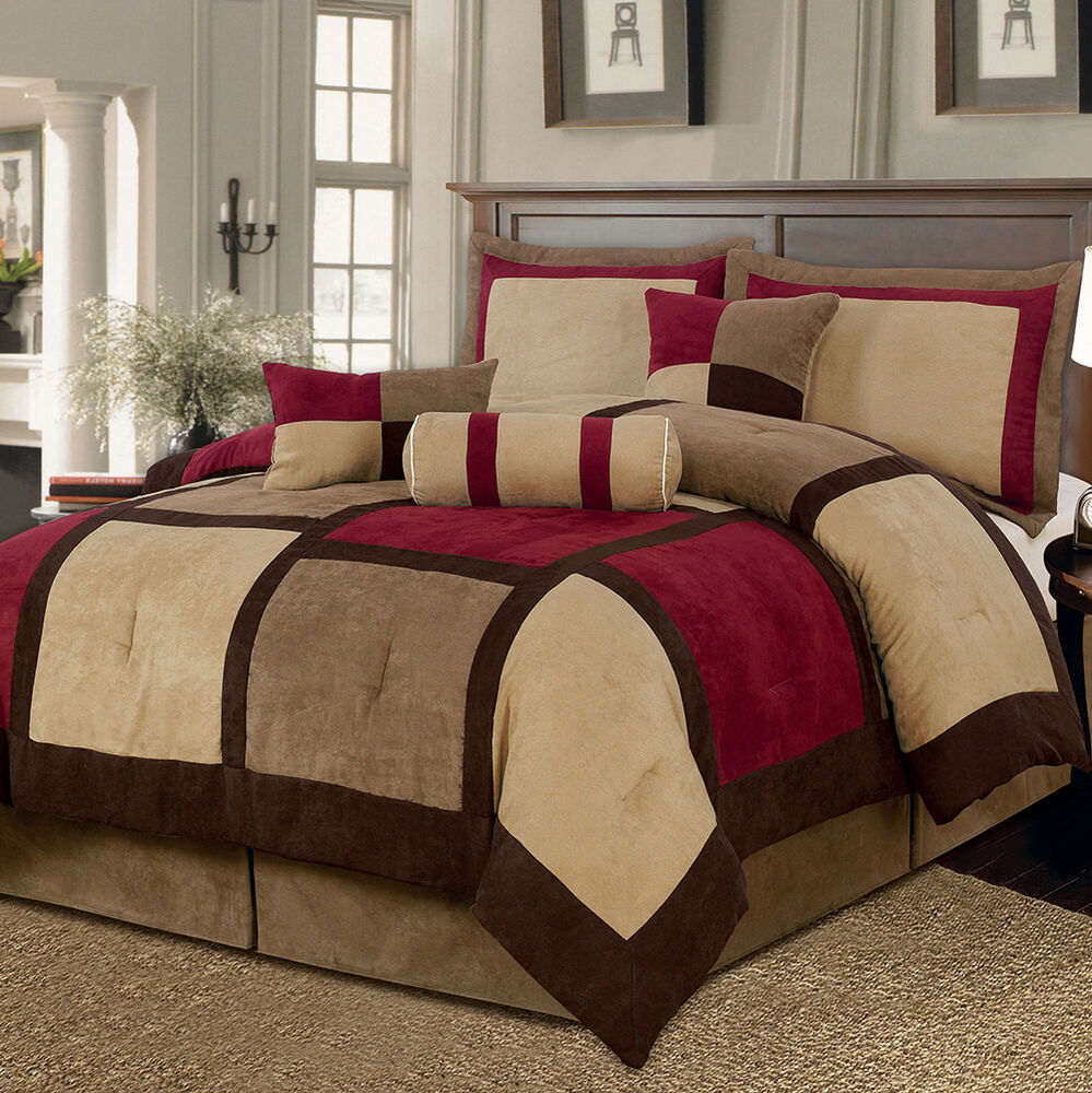 Brown Red Bed Bag 7Pc Comforter Set Cal King Queen Home Bedroom Daybed Bedding  eBay