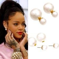 CELEBRITY BEAUTIFUL POPULAR EXTRA LARGE FAUX PEARL STUD