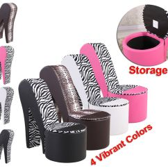 High Heel Shoe Furniture Chair Comfortable Desk Funky Stiletto Chairs In Faux Soft Leather Ottoman Storage | Ebay