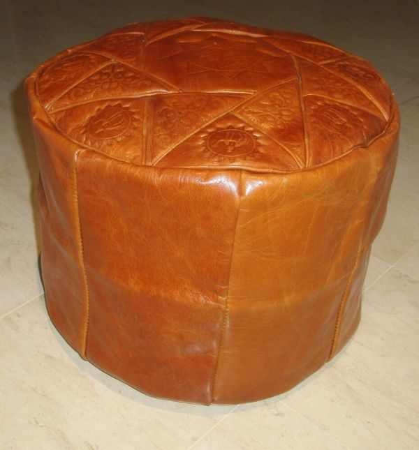 Camel Brown Genuine Leather Moroccan Pouf Pouffe Handmade