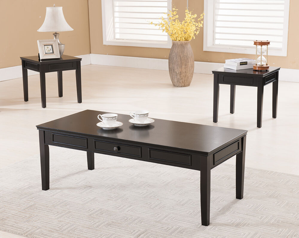 3 Pc. Kings Brand Black Finish Wood Coffee Table & 2 End