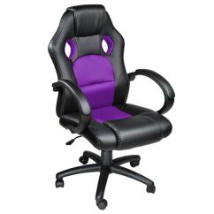 Swivel Office Chair With Wheels Rustic Lounge Racing Car Seat Luxus Computer Faux Leather Reclining Purple | Ebay