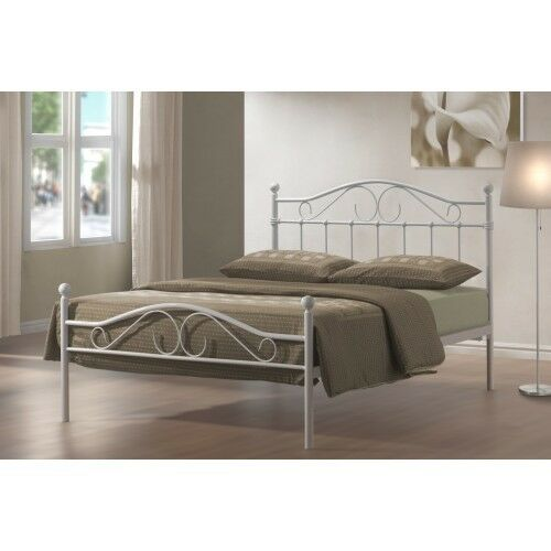 4FT6 DOUBLE METAL BED FRAME WHITE BEDROOM FURNITURE ON