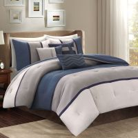 Blue & Gray Bed Bag Luxury 7-Pc Comforter Set Cal King ...