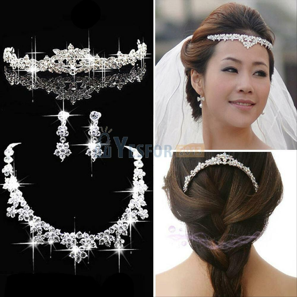 Bridal Wedding Party Prom Jewelry Set Crystal Rhinestone