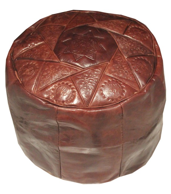 Brown Genuine Leather Moroccan Pouffe Pouf Handmade
