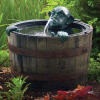 Pond Fountain Decorative Man In Barrel Pump Water Feature ...