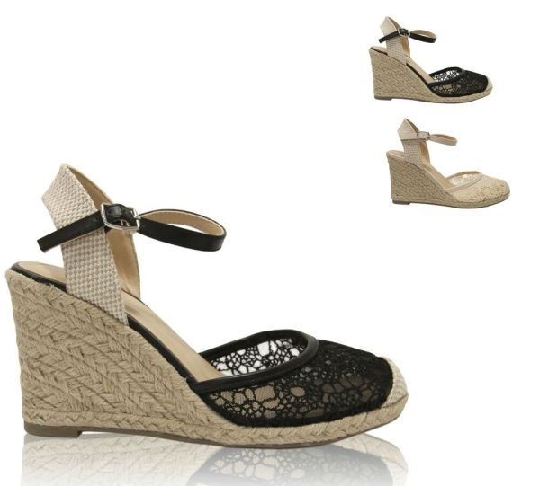 Women39s Lace Overlay Closed Toe Ankle Strap Espadrille