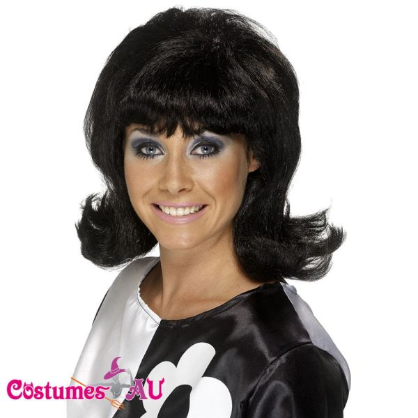 Ladies 60s Flick Wig Black Short Wigs Smiffys 1960s 70s