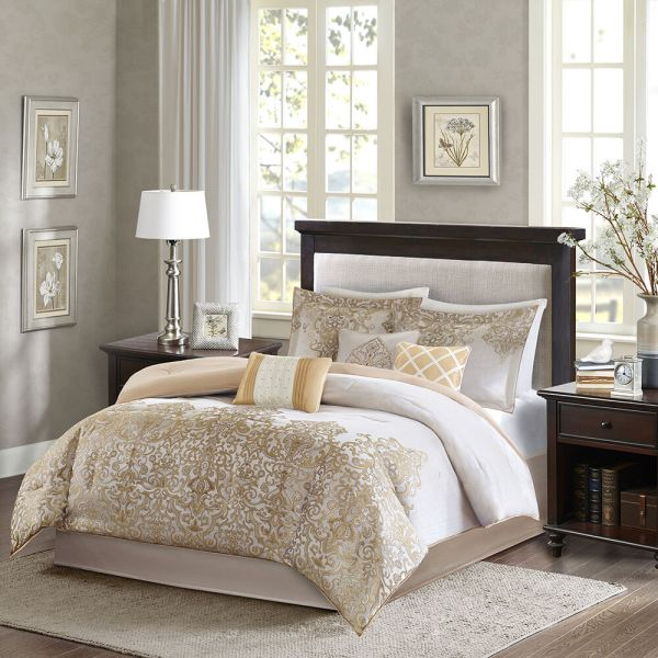 ivory and beige bedroom BEAUTIFUL 7PC RICH ELEGANT LUXURY GOLD TAUPE BEIGE IVORY