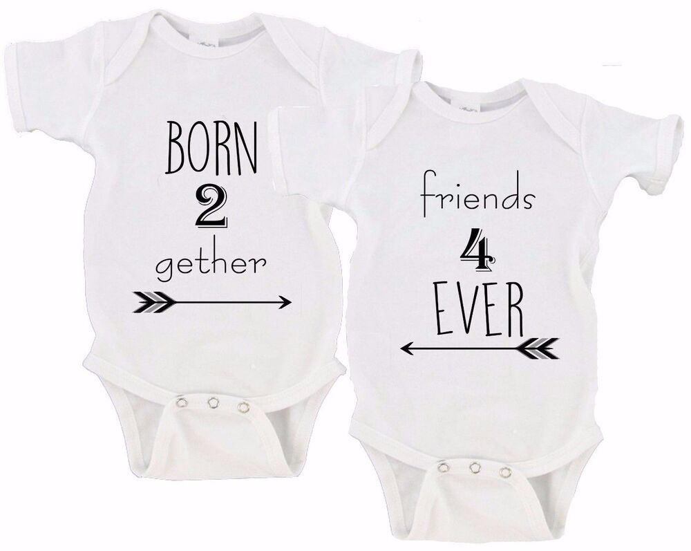 Born Together Friends Forever Twin Set Baby Girls Boys Twins Onesie Onesies EBay
