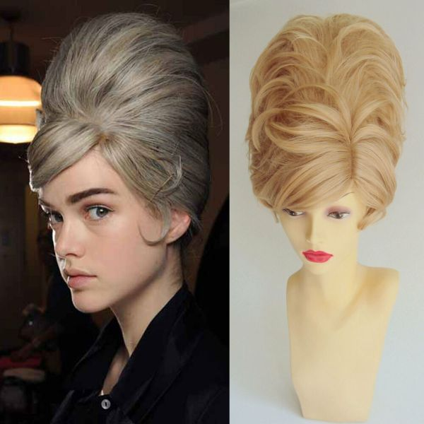 Deluxe Blonde Short Beehive 60' Mod Bouffant Fashion