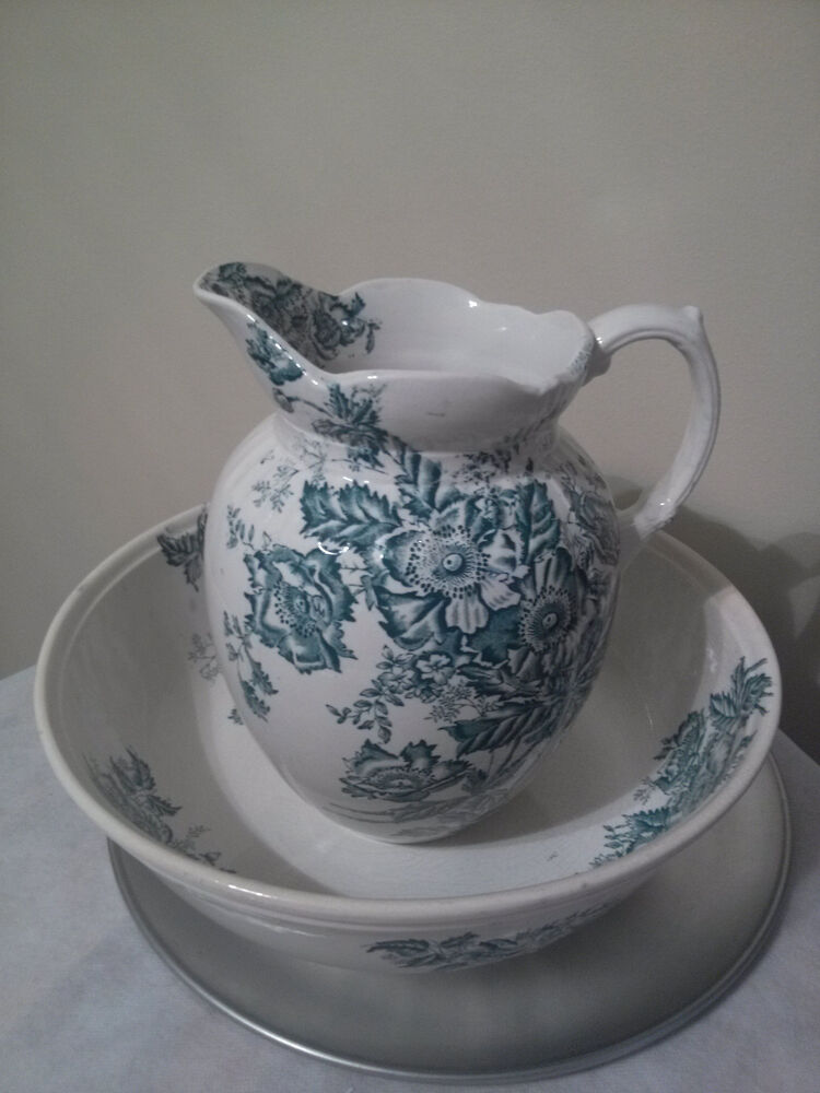 18501899 White and Green Art Nouveau Ceramic Bowl and Pitcher Erie England  eBay