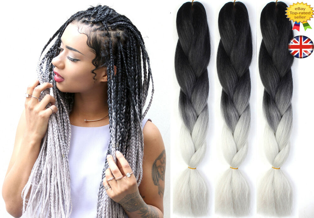 "24"" Ombre Two Tone Dip Dye Synthetic Braiding Hair"