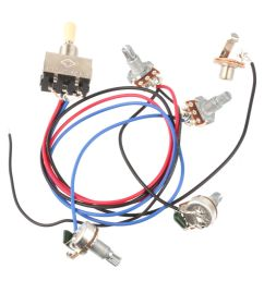 wiring harness 3 way toggle switch 2v2t 500k pots jack les paul lp [ 1000 x 1000 Pixel ]
