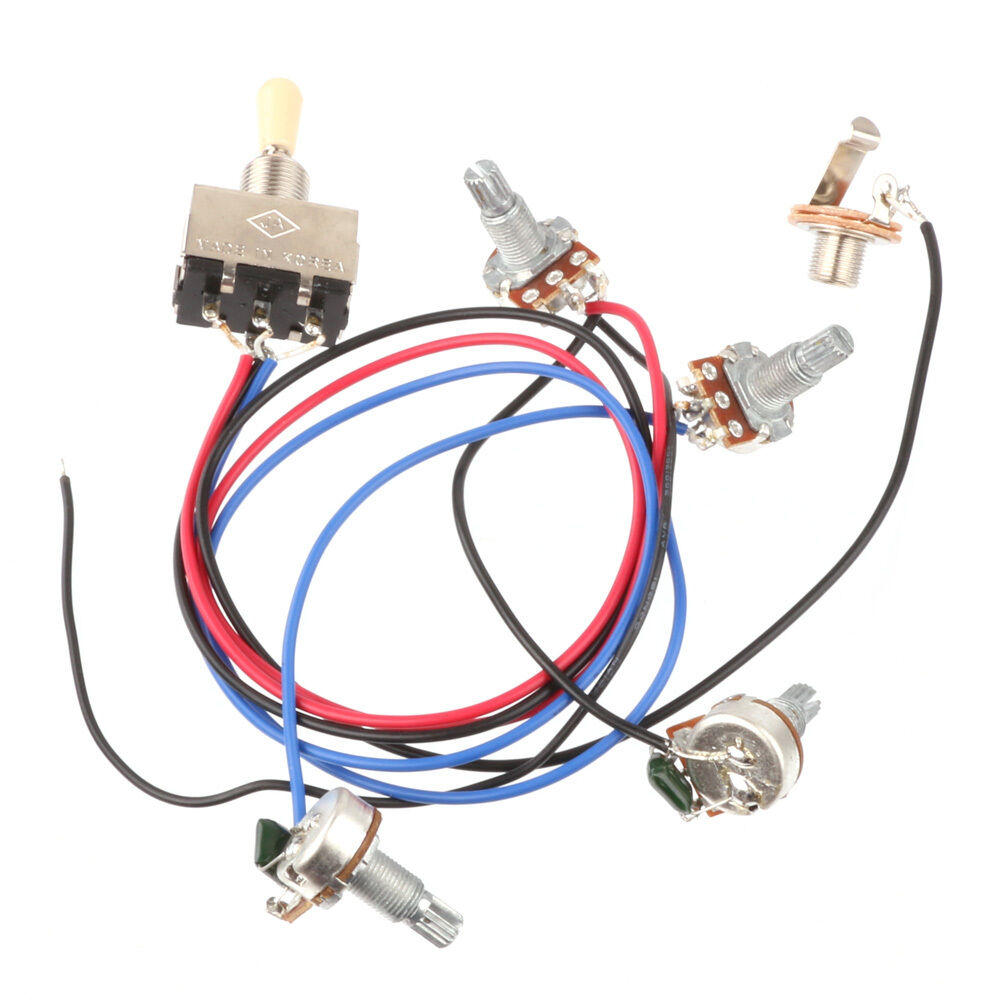 medium resolution of wiring harness 3 way toggle switch 2v2t 500k pots jack les paul lp