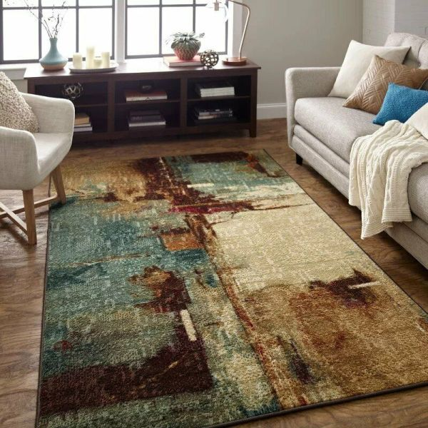 5x8 Contemporary Modern Abstract Aqua Teal Area Rug