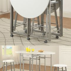 Kitchen Chairs With Casters Sink Soap And Sponge Holder 3 Piece White Metal Pub Counter Height Leaf Table W ...