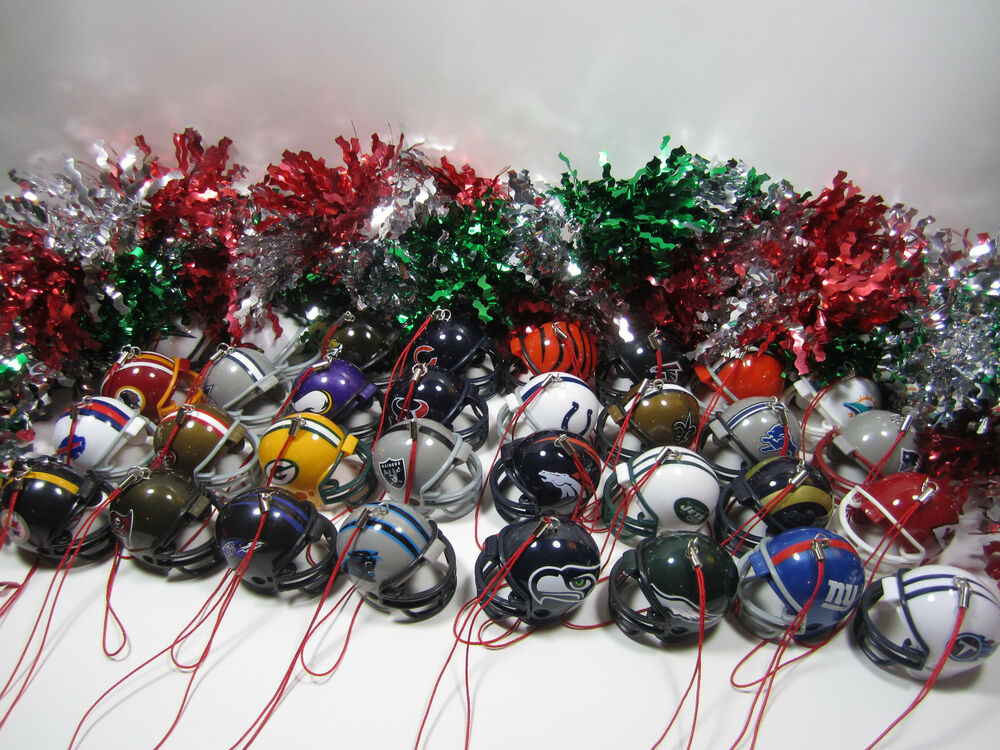Set Of 6 NFL Football Christmas Tree Holiday Mini Plastic