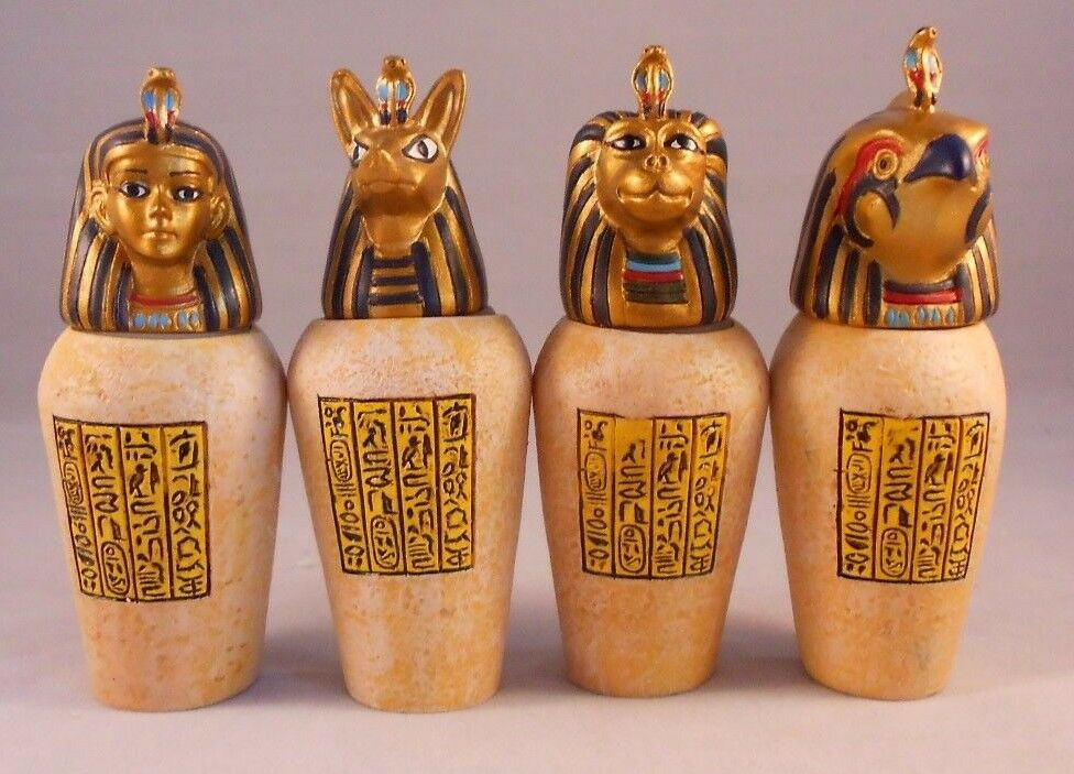 EGYPTIAN CANOPIC JARS Set of 4 Resin Decorative