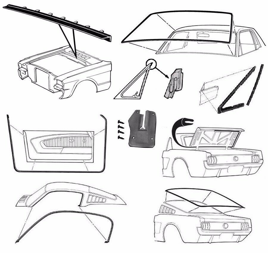 Mustang Delux Rubber Kit Weatherstrips Door Screen Seals