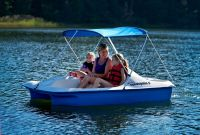 Covered Paddle Boat Pedal 5 Person Canopy Cooler Storage ...