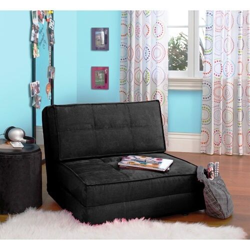 YOUR ZONE Rich Black Chair Flip Out Convertible Sleeper