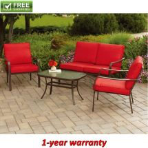 Patio Conversation Set 4-piece Red Cushioned Garden