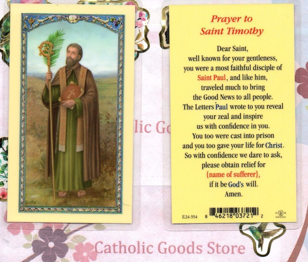 Saint Timothy With Prayer To St Timothy Laminated Holy